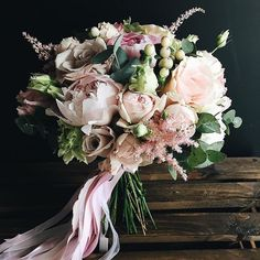 Wedding, Bridal, Bridesmaid, Bouquet, Spring, Summer, Peonies, Roses, Berries, Blush, Pink, Soft, Ribbon