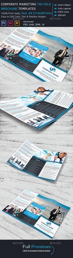 Corporate Marketing Tri-Fold Brochure Template #design Download: http://graphicriver.net/item/corporate-marketing-trifold-brochure/10229062?ref=ksioks