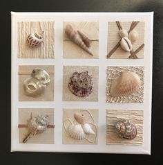 Shells collage on canvas. - Shells collage on canvas. You are in the right place about crafts ideas Here we offer you the - Sea Crafts, Diy And Crafts, Arts And Crafts, Baby Crafts, Seashell Art, Seashell Crafts, Diy Collage, Canvas Collage, Canvas Artwork