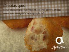 ¿Sabías que...nuestro cuidado proceso de congelación nos permite ofrecer una croqueta congelada fresca y crujiente? #Ameztoi