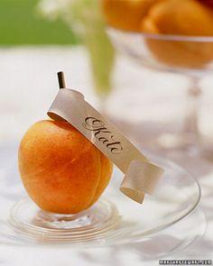 abrikoos naamkaartje, dan geen abrikoos maar een groene appel!