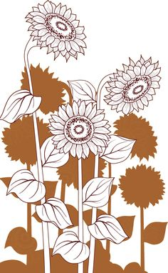 白黒の花のイラスト-ひまわり・白・影