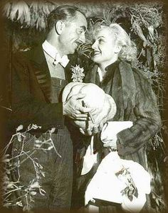 Carole Lombard and first husband William Powell, at costume party given by Kay Francis