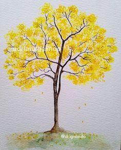 New Tree Sketch Easy Acrylic Paintings Ideas Watercolor Trees, Easy Watercolor, Watercolor Landscape, Watercolour Painting, Painting & Drawing, Tree Sketches, Simple Acrylic Paintings, Pictures To Paint, Tree Art