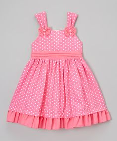 Another great find on #zulily! Pink Polka-Dot Ruffle-Hem Dress - Toddler & Girls #zulilyfinds