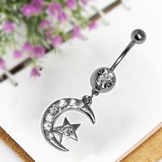Crescent Moon Star Stainless Crystal Silver Plating Belly Button Ring