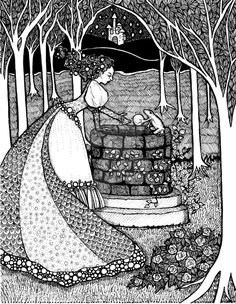 From my fairytale illustration series The princess drops her ball down the well, and the frog returns it, making her promise he can come to the castle f. The Frog Prince Adult Coloring, Coloring Books, Coloring Pages, Fairytale Art, Disney Pictures, Doodle Art, Art Images, Book Art, Fairy Tales