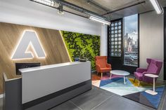 Reception Area for the New ADOBE London Office. Featuring our bespoke reception desk with an ''exaggerated'' Counter Top Office Reception Design, Corporate Office Design, Office Space Design, Reception Areas, Dental Reception, Office Entrance, Office Lobby, Office Interior Design, Office Interiors
