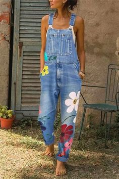 Casual Denim Jumpsuit Big Pocket Graffiti Multi-Color Nine-Point Bib Casual Strap Sleeveless Jumpsuits Denim Jumpsuit, Printed Jumpsuit, Casual Jumpsuit, Floral Jumpsuit, Harem Jeans, Denim Pants, Denim Overalls, Denim Blouse, Jumpsuit Outfit