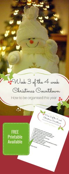 Have a Festive Organized Christmas - Week 3 - Snapshots and Snippets Christmas Countdown, Christmas Crafts, Christmas Ornaments, Christmas Ideas, Fridge Organization, Organizing, Simple Christmas, Free Printables, Organized Christmas