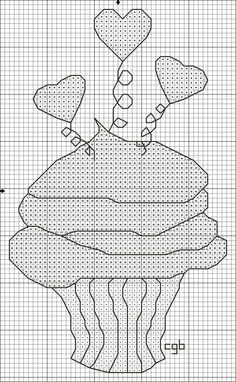 Cupcake Cross Stitch Pattern Free Counted Graph