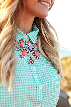 Mint gingham   statement necklace