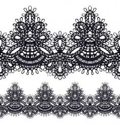 """Black openwork lace seamless border. Realistic vector illustration. Stock Photo""  Cuff Bracelet Pattern Inspiration"
