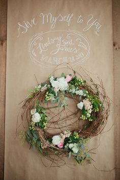 wispy wreath - would be cuter if blackboard www.classicdiybride.blogspot.com