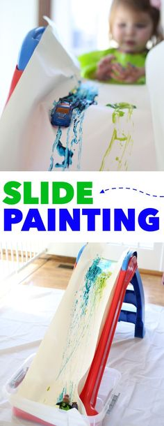 Slide Painting – Jenae {I Can Teach My Child!} Slide Painting Slide Painting: A super fun indoor or outdoor process art activity for toddlers or preschoolers! Use cars, balls, or anything that rolls! Art Activities For Toddlers, Nursery Activities, Infant Activities, Learning Activities, Outdoor Preschool Activities, Toddler Painting Activities, Art For Toddlers, Childcare Activities, Painting With Toddlers