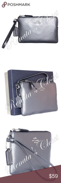 """Coach Boxed Corner Zip Wristlet * style # 58423B LILH4 * UPC # 889532696284 * made in Vietnam * color - Silver/Gunmetal * metallic leather * 2 interior credit card slots * 6""""L x 0.5""""W x 4""""H * wrist strap w/ 6"""" drop * zip closure * fully lined interior * will fit regular-sized iPhone or Android  * packaged in a limited edition 75th Anniversary Coach gift box, ready for gifting * silver-toned hardware * smoke-free home * listing will be videotaped while packing to protect seller from…"""