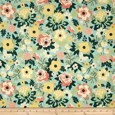 Riley Blake Fancy & Fabulous Main Mint from @fabricdotcom  Designed by Riley Blake, this cotton print fabric is perfect for quilts, home décor accents, craft projects and apparel. Colors include teal, green, yellow, beige and coral.