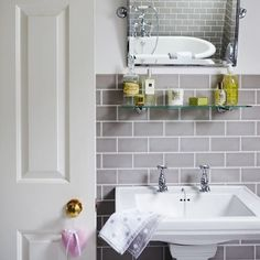 Period bathrooms ideas amusing new ideas for country bathroom decor of style accessories interior home design ideas and home remodeling ideas bathroom Upstairs Bathrooms, Grey Bathrooms, Beautiful Bathrooms, Downstairs Bathroom, Bad Inspiration, Bathroom Inspiration, Bathroom Ideas, Brick Tiles Bathroom, Grey Subway Tiles