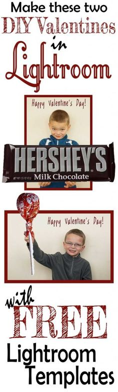 FREE Templates to use in Lightroom to make custom Valentines for your kiddos with their picture! No Photoshop needed!