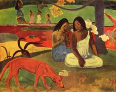 Arearea Joyfulness by Paul Gauguin Premium Gallery-Wrapped Canvas Giclee Art - 12 x 16 x in. Paul Gauguin, Henri Matisse, Gauguin Tahiti, List Of Paintings, Oil Paintings, Art Occidental, Impressionist Artists, Camille Pissarro, Famous Art