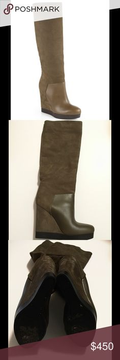 "🎉HP🎉 Like New Vivian Wedge Boot Host Pick 4/5/17 ""Flirty Faves Party"" Pull on style leather wedge boot in a Khaki/brown color. Worn twice! Fantastic condition! Vince Shoes Heeled Boots"