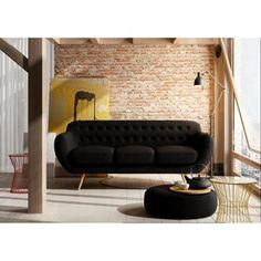 FINLANDEK Canapé TILA droit 3 places tissu noir - Achat / Vente canapé - sofa - divan Revêtement : tissu-Structure : bois et panneaux de particules - Cadeaux de Noël Cdiscount