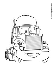 Truck From Cars Transportation Coloring Page For Kids Printable