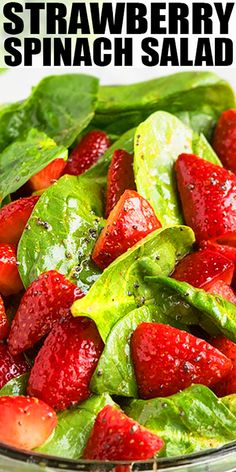 STRAWBERRY SPINACH SALAD RECIPE with poppyseed dressing- Quick easy made in 10 minutes in one pot This best ever classic healthy salad has many variations with almonds candied pecans walnuts onion feta cheese bacon chicken From Spinach Salad Recipes, Best Salad Recipes, Chicken Salad Recipes, Vegetarian Recipes, Cooking Recipes, Healthy Recipes, Soup Recipes, Salad Recipes Easy Lettuce, Spinach Salad Dressings