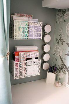 Organization bins for cubicle decor