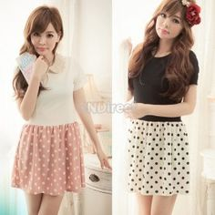 $7.00 Sweet Girls Short Sleeves Dot Print One-piece Dress 3Colors