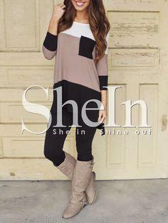 Vestido color combinado bolsillos-(Sheinside)