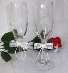 Wedding toasting glasses  flute wine glasses   by DoritasBoutique, $15.99
