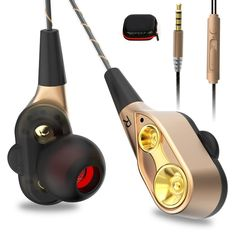 Double Unit Drive In Ear Earphone Bass Subwoofer Stereo Earphones With Microphone Sport Running Earbuds For Apple Phone Xiaomi Headphones With Microphone, Sports Headphones, Over Ear Headphones, Bass, Wireless Speakers, Wireless Headphones, Dj Mp3, Cable, Digital Audio