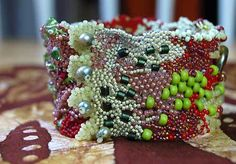 All five parts of this freeform peyote bracelet are in this post