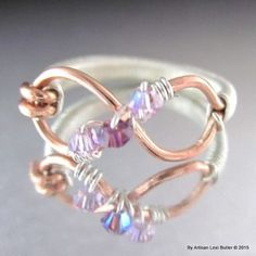 Sterling Silver Wire Wrapped Infinity Ring with Birthstones by Lexi Butler Designs