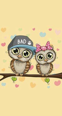 Owl Wallpaper, Couple Wallpaper, Cute Disney Wallpaper, Cellphone Wallpaper, Wallpaper Backgrounds, Best Iphone Wallpapers, Cute Wallpapers, Whatsapp Wallpaper, Owl Cartoon