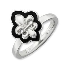 Sterling Silver Stackable Expressions Polished Enameled Fleur De Lis Ring - SalmaJewelry.com  $60.48