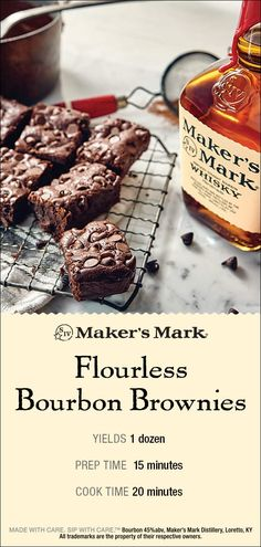 French Delicacies Essentials - Some Uncomplicated Strategies For Newbies Makers Mark Flourless Bourbon Brownies Are Dense, Fudgy And The Perfect Vessel For The Pleasing Infusion Of The Caramel And Vanilla Notes Of Makers Mark Bourbon. Gluten Free Desserts, Just Desserts, Delicious Desserts, Dessert Recipes, Yummy Food, Eat Dessert First, Dessert Bars, Yummy Treats, Sweet Treats