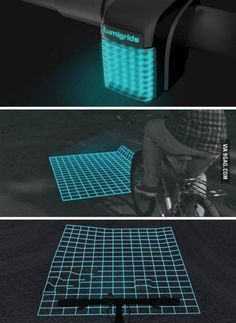this is amazing. you can see where you're going at night! - shut up and take my money! Gadgets And Gizmos, Technology Gadgets, Tech Gadgets, New Technology, Electronics Gadgets, Travel Gadgets, Pimp Your Bike, Lampe 3d, Innovation