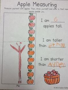 Hodge and Her Kindergarten Kids: Apples and more apples. Preschool Apple Theme, Apple Activities, Fall Preschool, Preschool Activities, Preschool Apples, Maths Resources, Measurement Kindergarten, Kindergarten Classroom, Teaching Math