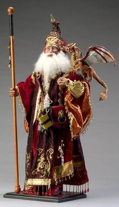 [Fantasy art] The Red wizard by prismstudios at Epilogue Clay Dolls, Doll Toys, Art Dolls, Santa Doll, Elves And Fairies, Father Christmas, Christmas Crafts, Paperclay, Gandalf