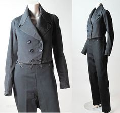 Rare Mens Circa 1810 Regency Wool Suit - Fall Front Trousers & M-Notch Tailcoat