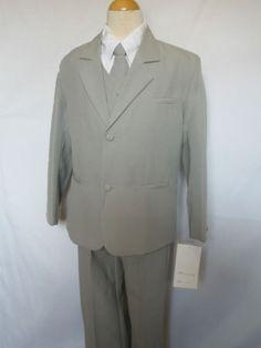 Infant Toddler Boy Gray Suit Tuxedo Vest 5pcs Sz M 16 Easter Wedding Party | eBay