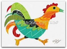 Original rooster collage art 5 x 7 by JackieGuttusoDesigns on Etsy