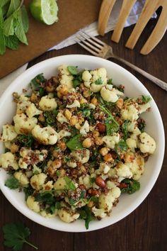 Roasted Cauliflower and Chickpea Quinoa Salad with Jalapeño-Lime Dressing #healthy #veggie #salad