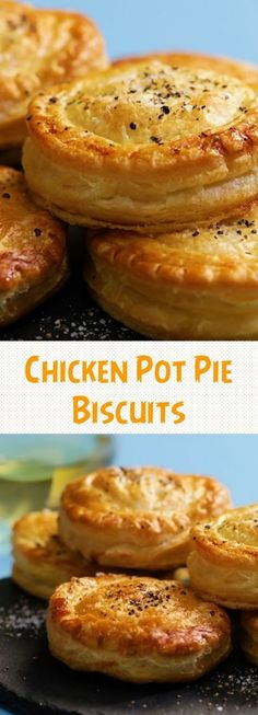 Chicken Pot Pie Biscuits is part of food_drink - Chicken Pot Pie Biscuits INGREDIENTS 5 tbsp plain flour 1 sprig fresh thyme, leaves removed 1 sprig rosemary, leaves removed 3 cups Turkey Recipes, Chicken Recipes, Seafood Recipes, Costco Chicken, Chicken Appetizers, Drink Recipes, Great Recipes, Favorite Recipes, Snacks