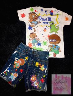 Excited to share this item from my shop: Customized Urban Rugrats Outfit 1st Birthday Party Themes, Second Birthday Ideas, Baby Boy 1st Birthday, Rugrats, Baby Moana Costume, Retro Baby Showers, Cartoon Outfits, Kind Mode, Swagg