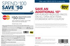 $50 off $100 using any MasterCard debit or credit card & more at Best Buy coupon via The Coupons App