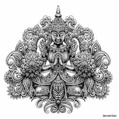 bennett klein coloring pages Buddha Tattoo Design, Buddha Tattoos, Sleeve Tattoos, Arm Tattoos, Cool Tattoos, Mandala Tattoo, Lotus Tattoo, Tattoo Ink, Colour Pencil Shading
