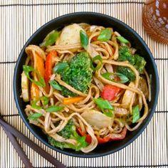 Peanut Soba Stir-Fry—perfect for the calorie conscious. Soba noodles have fewer calories than egg noodles.